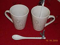 Подарочный набор - чашки и ложки фаянс для утреннего кофе, фото 1
