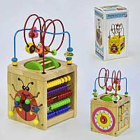 Логический куб C31522 деревянная обучающая игра лабиринт счеты часики в коробке
