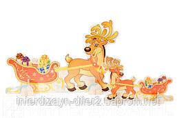 Рождественский олень с санями мини