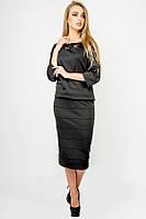 Класична спідниця трикотажна Монті довжини міді 44-52 розміру чорна, фото 1