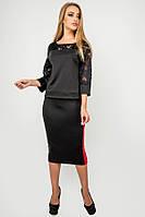 Трикотажная юбка Лоззи с лампасами длины миди 44-52 размера черная, фото 1