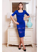 Коктейльное синее платье с гипюром 44 (М)