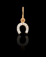 Золотой кулон Подковка 10кам (0,37)