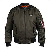 Бомбер мужской осенний теплый цвета хаки брендовый от Olymp