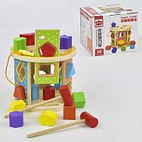 Сортер C29384 дерев'яна розвиваюча гра з молоточком різні фігурки в коробці
