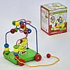 Дерев'яна іграшка-каталка на мотузці з пальчиковым лабіринтом C 31479 з качечкою