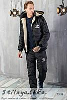 Мужской костюм на синтепоне Adidas черный, фото 1