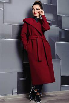 Довге пальто жіноче Маріз бордовий