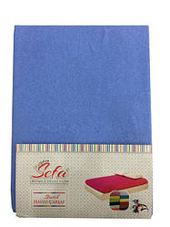 Махровая простынь на резинке с наволочками (голубой)