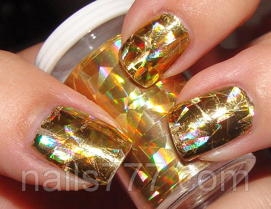 Фольга для литья, ногтей - Золотая голографическая №2, фото 2
