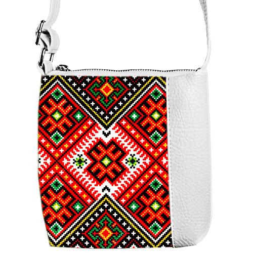 Сумка Moderika Mini Miss белая с рисунком Вышиванка (55110)