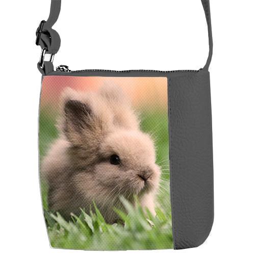 Сумка Moderika Mini Miss серая с рисунком Кролик (55082)