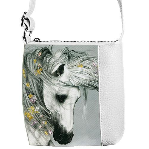 Сумка Moderika Mini Miss белая с рисунком Лошадь (55083)