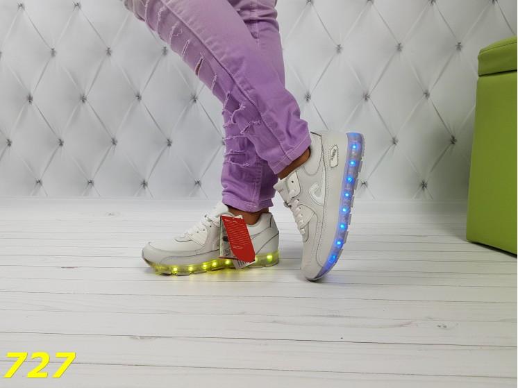 Белые кроссовки аирмаксы с подсветкой Led dd75153f8b34e