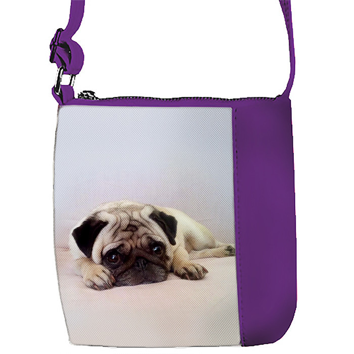 Сумка Moderika Mini Miss фиолетовая с рисунком Мопс (55341)