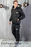 Мужской костюм на синтепоне Nike черный, фото 1