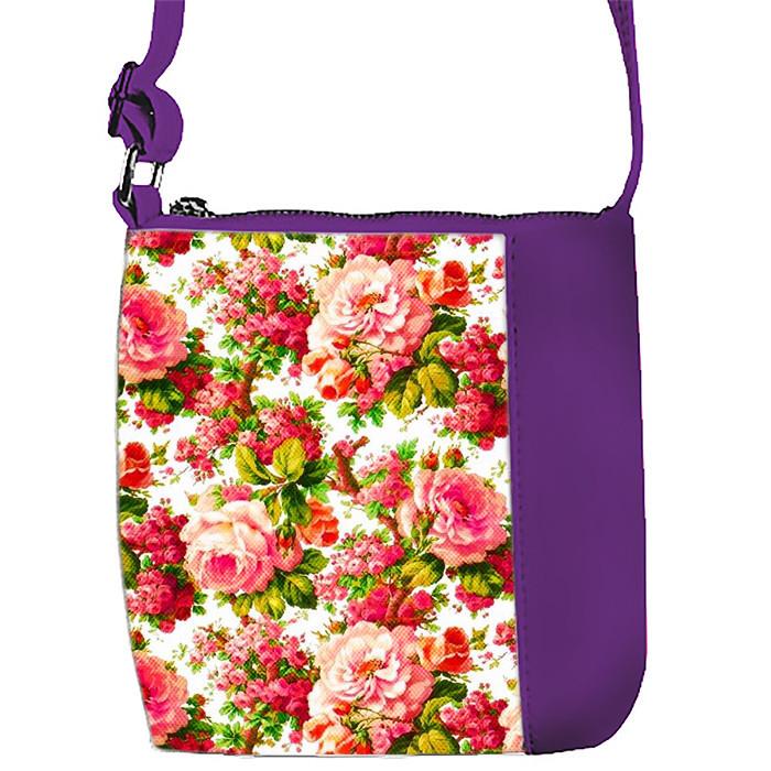 Сумка Moderika Mini Miss фиолетовая с рисунком Цветочный Рай (55272)