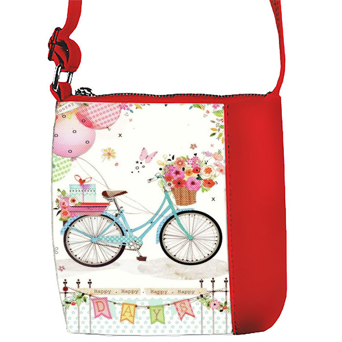 Сумка Moderika Mini Miss красная с рисунком Велосипед (55326)