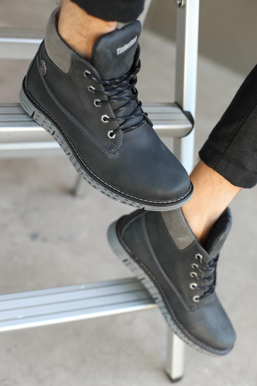 Мужские зимние ботинки Timberland,синие (кожа)