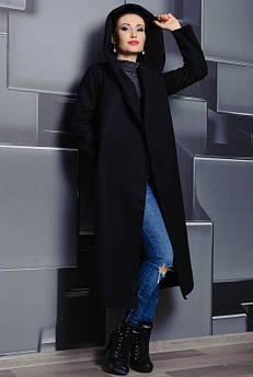 Чорне довге пальто з капюшоном Маріз