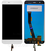 Дисплей (экран) для Xiaomi Mi6 + тачскрин, цвет белый,без шлейфа сканера отпечатка пальца (Touch ID)
