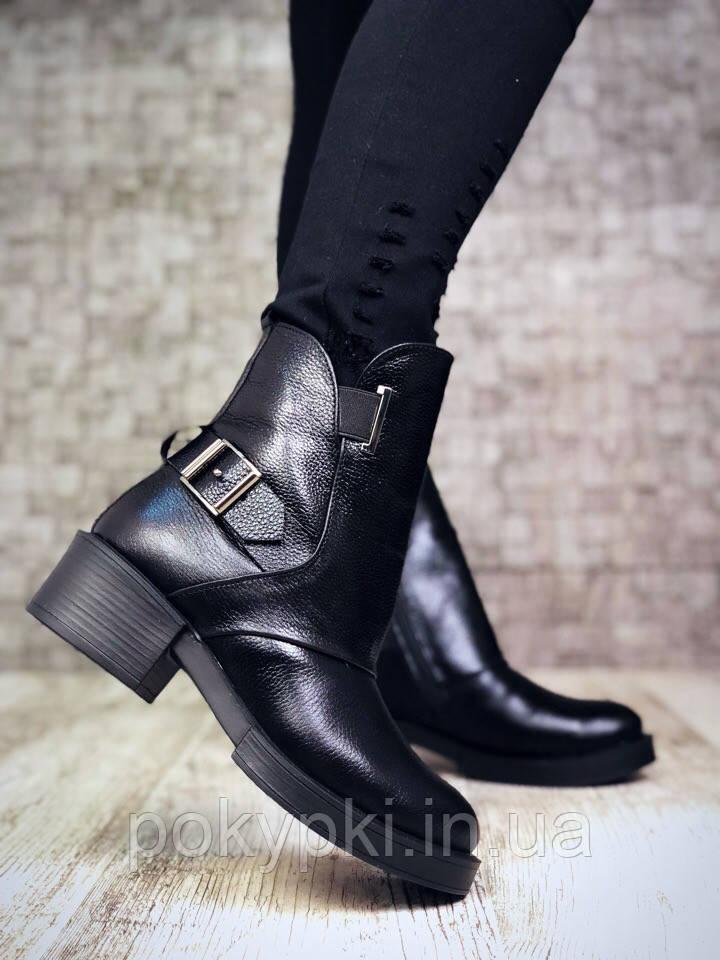 b4af301a1 Зимние женские ботинки натуральная кожа элит флотар черного цвета толстый широкий  каблук круглый носок -