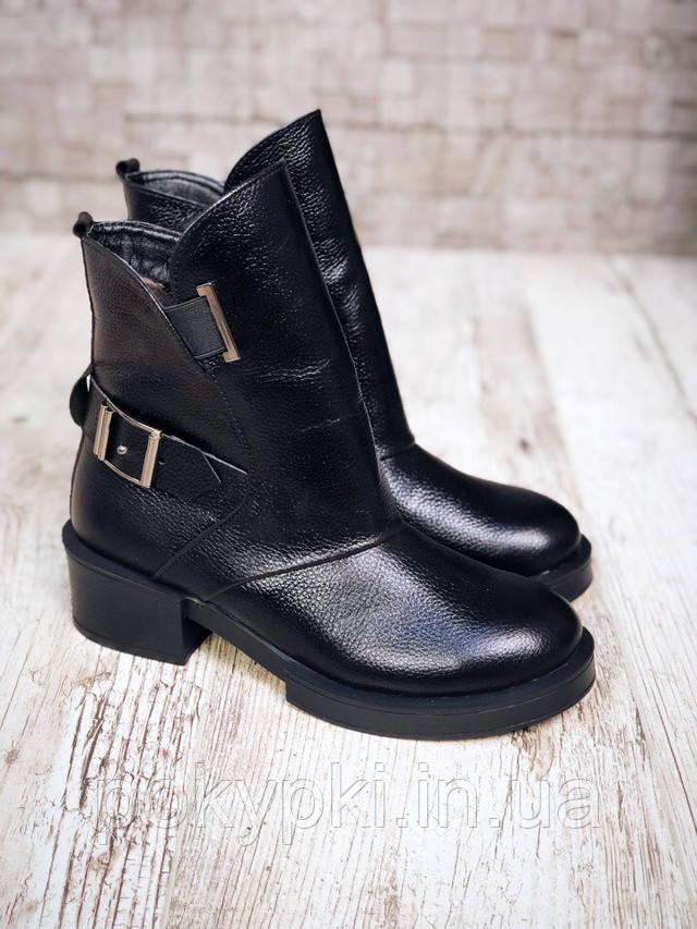 bf86ce1f4 Зимние женские ботинки натуральная кожа элит флотар черного цвета толстый широкий  каблук круглый носок