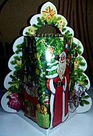 """Новогодняя подарочная коробка-упаковка на 400-500 грм ялинка """"Дід Мороз"""""""