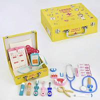 Деревянный игровой тематический набор доктора в чемодане с аксессуарами  C31481 для детей