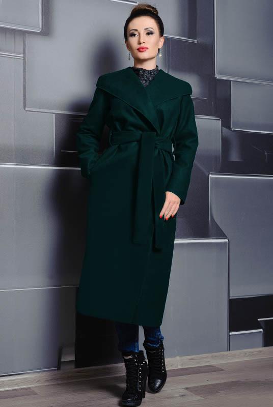 Кашемировое женское пальто  Мариз изумрудный