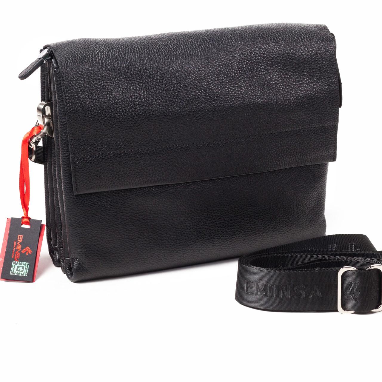 Мужская сумка Eminsa 6128-18-1 кожаная черная