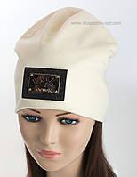 Молочная трикотажная шапка Verox