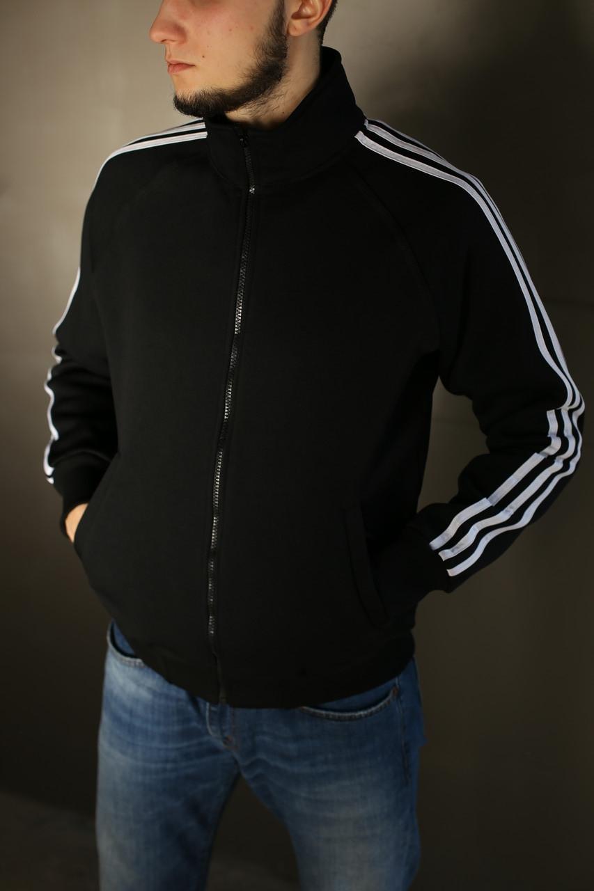 Толстовка зимняя мужская Adidas.Черная с белым
