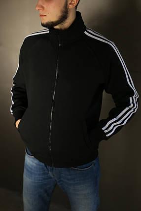 Толстовка зимняя мужская Adidas.Черная с белым , фото 2