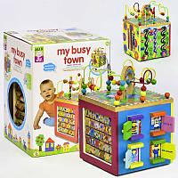 """Деревянный Логический куб """"Мой оживленный город"""" C 31757 лабиринт для пальчиков  буквы в коробке"""