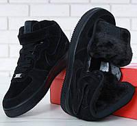 Зимние кроссовки Nike Air Force 1 High теплые черные с мехом. Фото в живую. Топ реплика