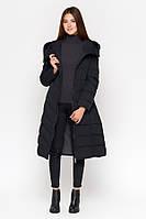 Куртка женская зимняя длинная  с капюшоном  Чёрная