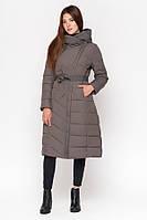 Куртка женская зимняя длинная  с капюшоном | Серая