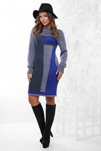 Теплое осеннее платье до колен по фигуре рукав длинный с манжетом цвет джинс и электрик