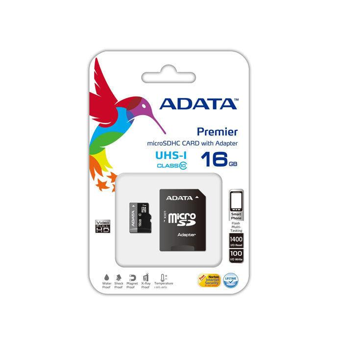 Карта памяти ADATA microSDHC 16GB C10 UHS-I A1 + SD