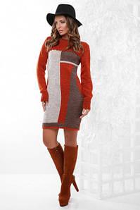 Модное вязанное платье на осень облегающее средней длины рукава длинные терракотовое капучино коричневое