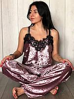 Велюровая пижама майка и штаны с кружевом, фото 1