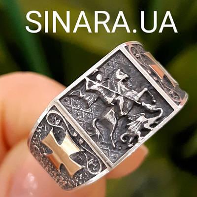 Серебряное кольцо Георгий Победоносец - Мужское кольцо Святой Георгий серебро с золотом