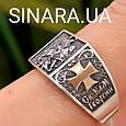Серебряное кольцо Георгий Победоносец - Мужское кольцо Святой Георгий серебро с золотом, фото 5