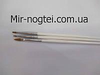 Набор кистей для росписи ногтей 3 шт в упаковке(белая ручка)