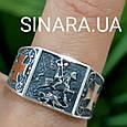 Серебряное кольцо Георгий Победоносец - Мужское кольцо Святой Георгий серебро с золотом, фото 2