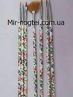 Набор кистей для росписи ногтей цветной принт