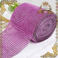 Декор-лента с розовыми стразами, 24-х полосная (12 см * 90 см.)