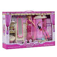 Кукла с набором мебели 589-2 (трюмо, шкаф, стул, кукла 29 см, аксессуары, украшения)