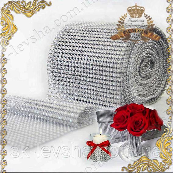 Декор-лента с серебряными стразами, 24-х полосная (12 см. * 90 см.)